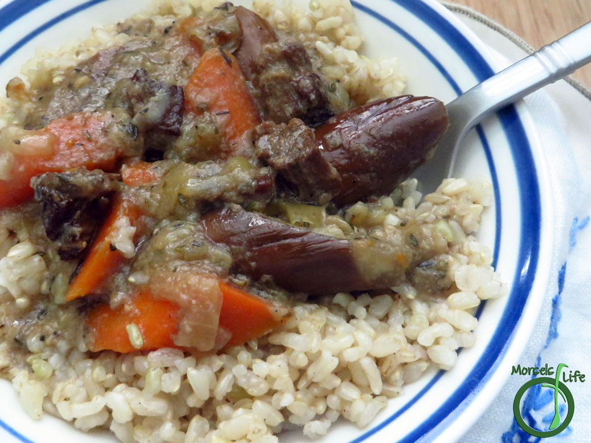 Morsels of Life - Slow Cooker Beef Eggplant Stew - Thick and savory - you'll want to try this flavorful slow cooker beef eggplant stew flavored with garlic, thyme, and onions.