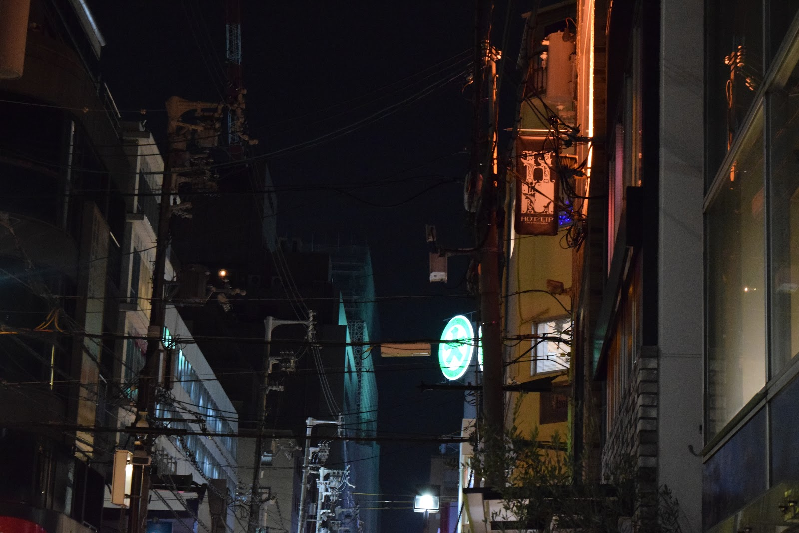 street lighting and overhead cables in Amemura, Osaka