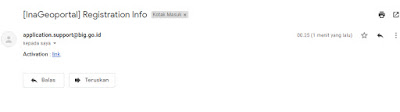 mendapatkan email dari ina geoportal jendela kota