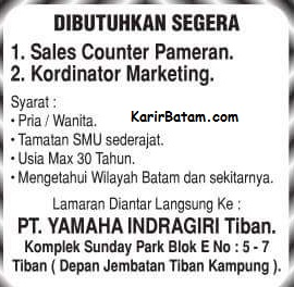 Lowongan Kerja PT. Yamaha Indragiri Tiban