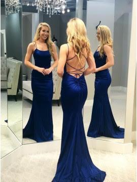 Long Mermaid royal Blue evening Prom dress