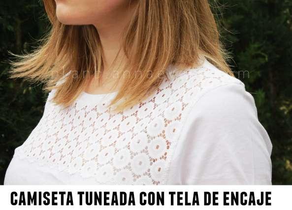 Camiseta tuneada con pechera de encaje