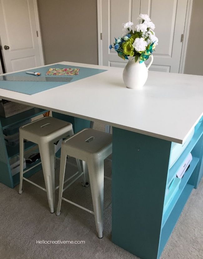 DIY Craft Room Table by Hello Creative Me featured at Pieced Pastimes