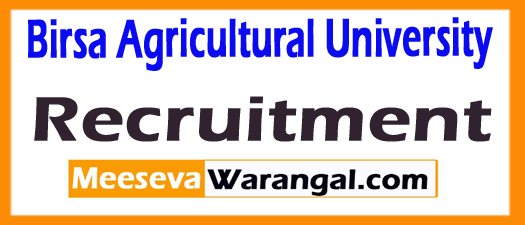 Birsa Agricultural University BAU Recruitment 2017
