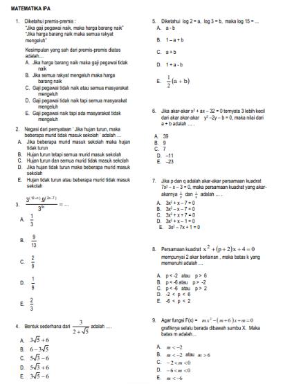 Soal dan Jawaban Ujian Sekolah US Matematika SMA tahun 2022-2023 Jurusan/prodi IPA