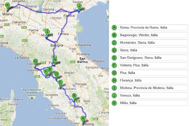 Roteiro de carro alugado pela Itália no Norte