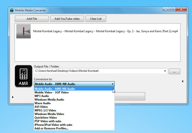 Convert Videos To Mobile Supported Formats With Mobile Media Converter