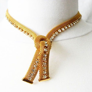Gold mesh and clear rhinestone necklace