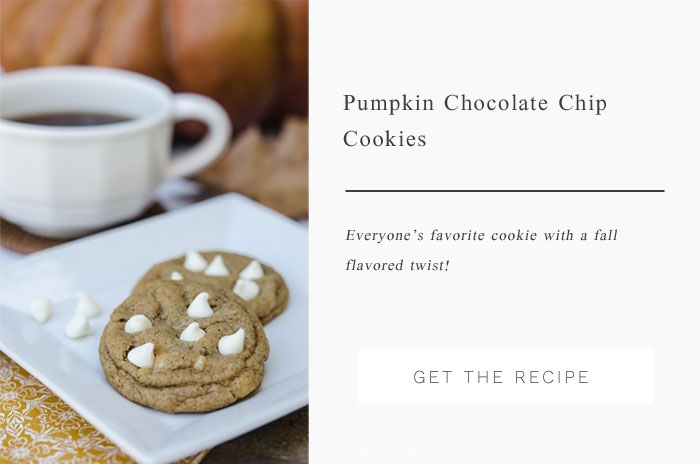 Everyone's favorite chocolate chip cookies are given a fall flavor twist with pumpkin puree and spices.