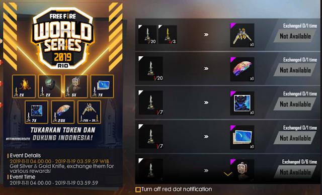 Cara Mendapatkan Token Cold Steel Silver dan Gold Event World Series Free Fire