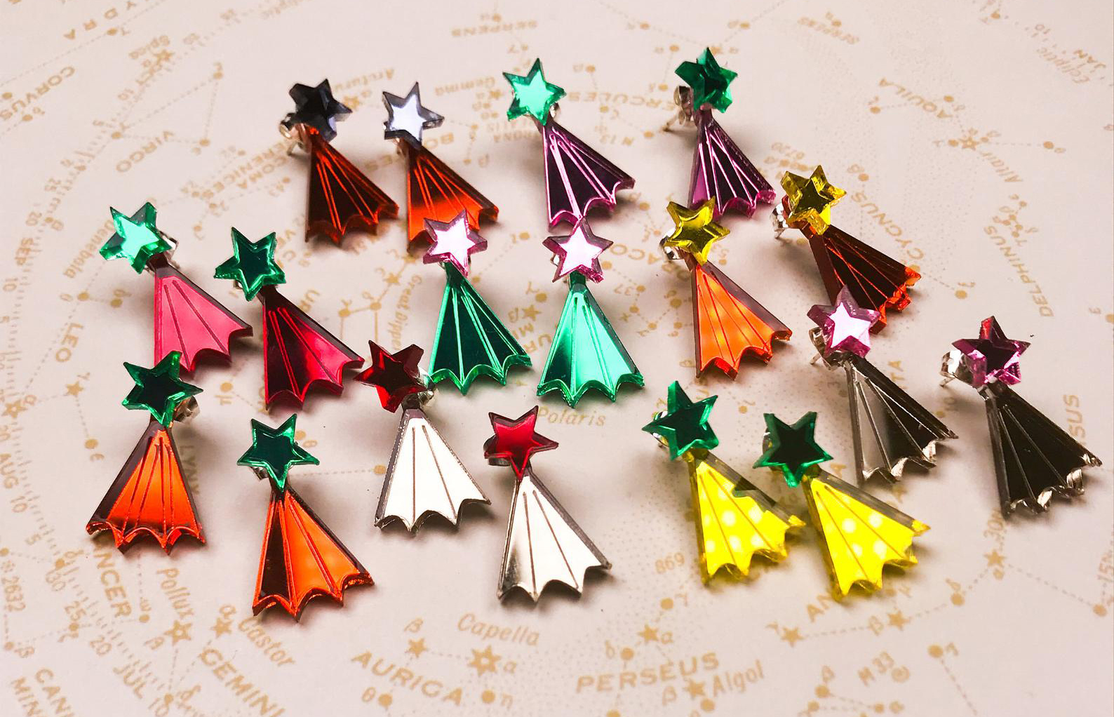A selection of star shaped laser cut earrings made in Birmingham