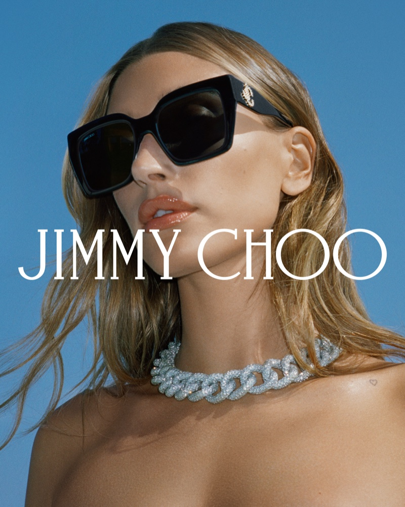 Hailey Bieber gets her closeup in Jimmy Choo fall 2021 campaign featuring sunglasses