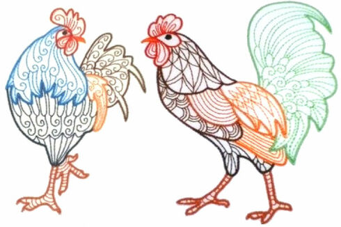 Embroidery Design Represents Two Cocks