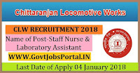 Chittaranjan Locomotive Works Recruitment 2018 - Staff Nurse & Laboratory Assistant