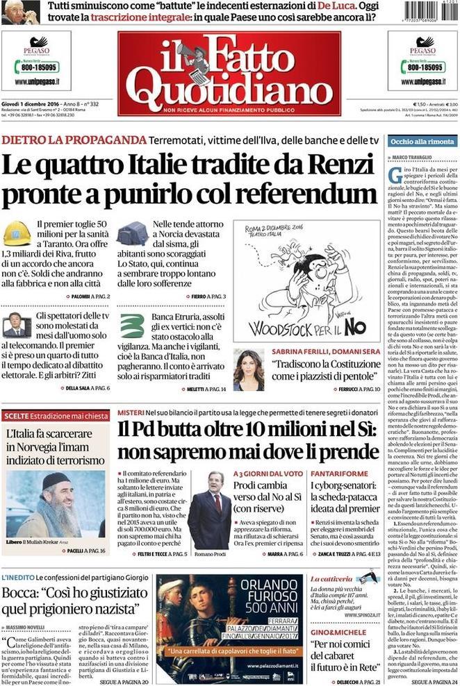 Reportages Quotidiani La Miglior Prima Pagina Di Oggi Giovedì 1