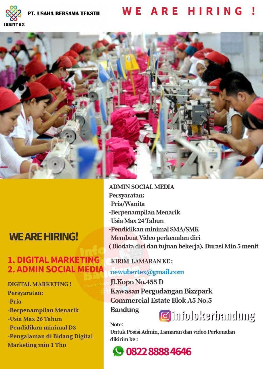 Lowongan Kerja PT. Usaha Bersama Textile Bandung Juli 2020