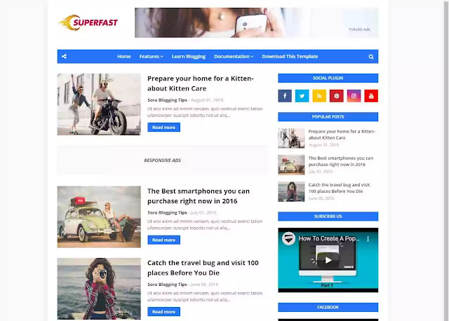 To 10 Fast Loading Blogger Template For Increase Blog loading speed