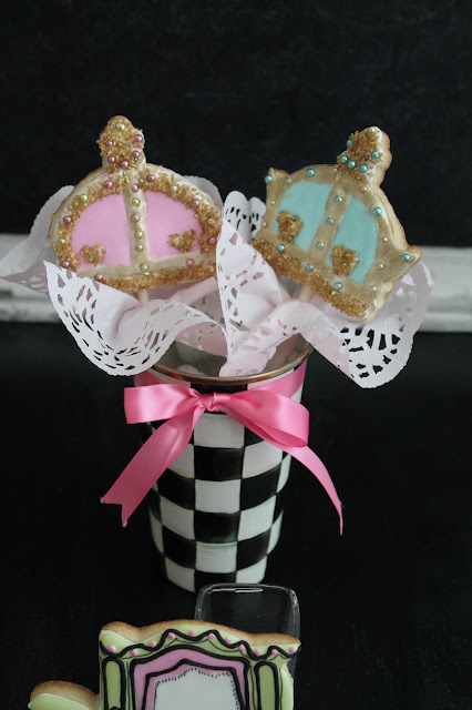 Crowns on a stick, Baby shower cookies, princess baby shower cookies @www.thecookiecouture.com