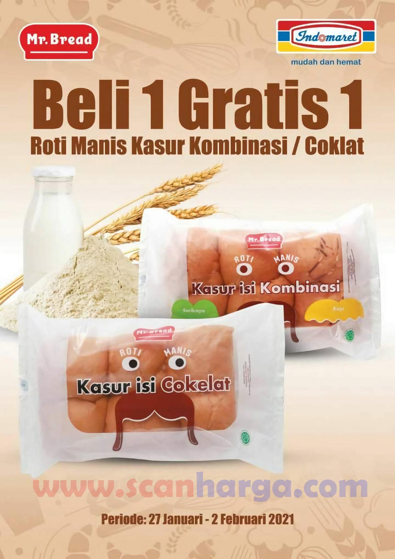 Promo Mr Bread Roti Indomaret Beli 1 Gratis 1* 27 Januari - 2 Februari 2021