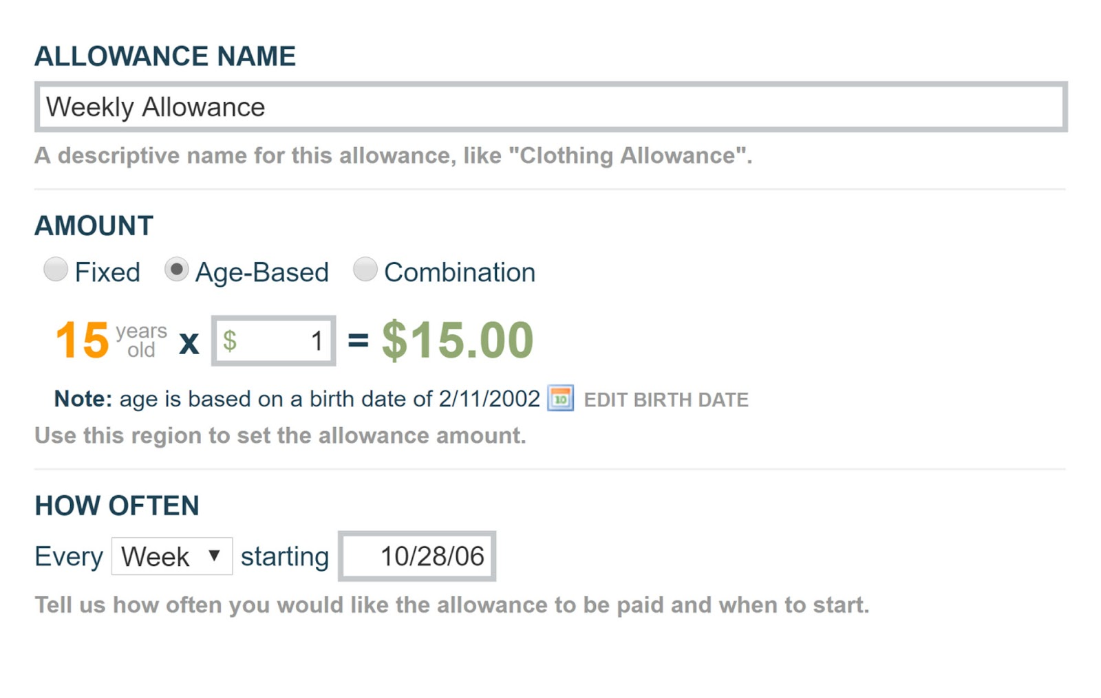 Allowance form.