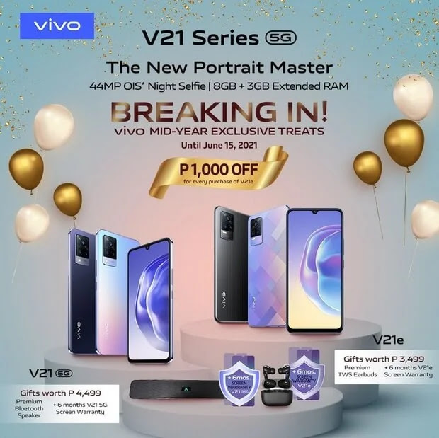 Get Premium Bonuses When You Pre-order the vivo V21 Series from June 1 to 4!
