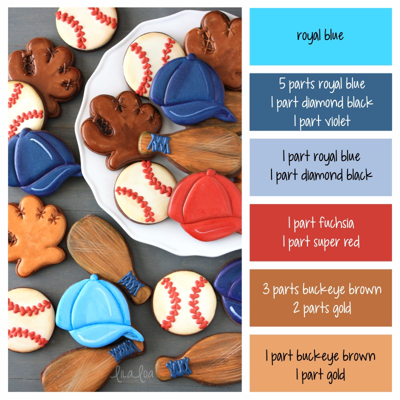 Color palette and color formulas for making royal icing colors for decorated baseball sugar cookies