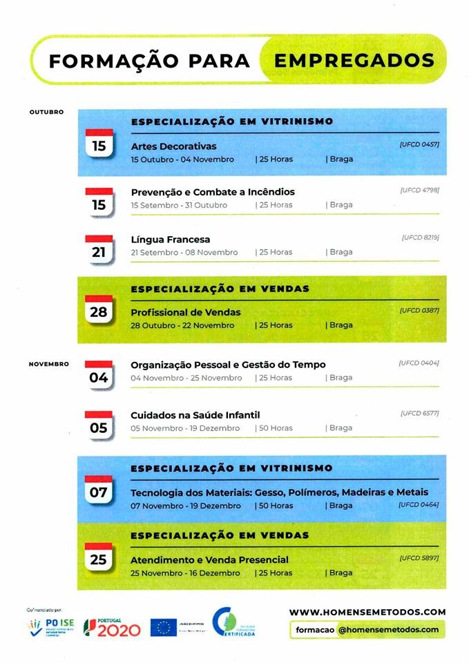 Cursos gratuitos para empregados em Braga