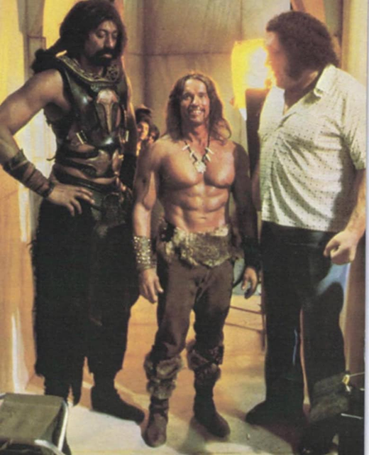 Arnold Schwarzenegger with Wilt Chamberlain and Andrè the Giant on the set of Conan the Destroyer, 1983.