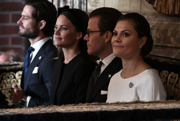Princess Sofia wore Hobbs London Black Robyn Jacket and skirt, Crown Princess Victoria wore Paule Ka colorblock peplum dress
