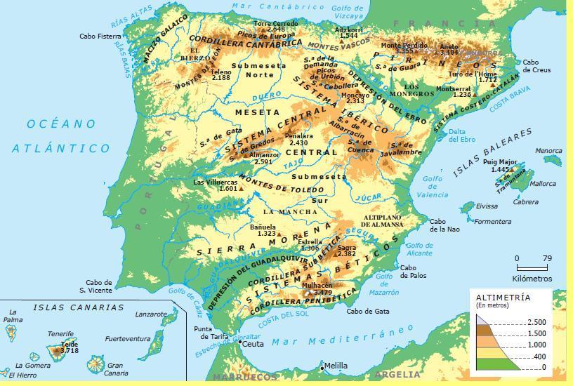Mapa Fisico De España.Jovesextos Mapa Fisico De Espana