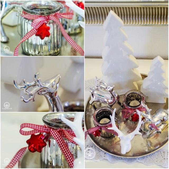 Weihnachtsdekoration weihnachtliche Dekoration für ein Dekoteller in weiß und silber - Blog Topfgartenwelt