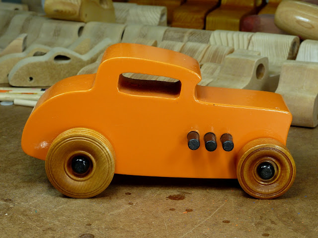 Handmade Wooden Toy Car Hot Rod 1932 Ford Deuce Coupe Orange With Black Trim