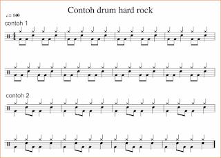 gambar notasi beat drum pada not balok