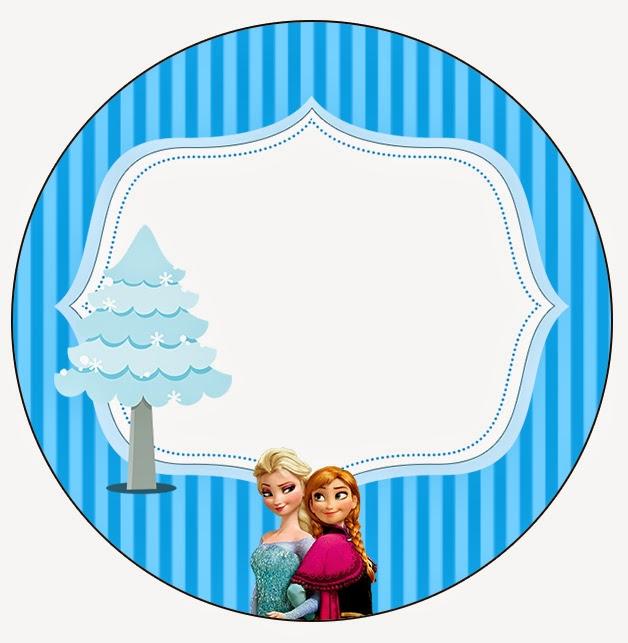 Toppers o Etiquetas de Frozen Navidad Azul para imprimir gratis.