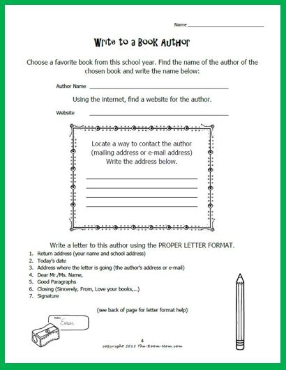 Classroom freebies letter writing to published authors and tips once the students have completed the activity the first time and understand the process this makes a great independent early finisher activity that can be spiritdancerdesigns Image collections