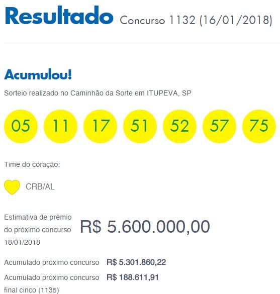 Timemania 1132 - Resultado de 16-01-2018