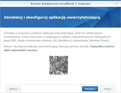 Kod QR do połączenia konta Synology z aplikacją YubiKey Authenticator