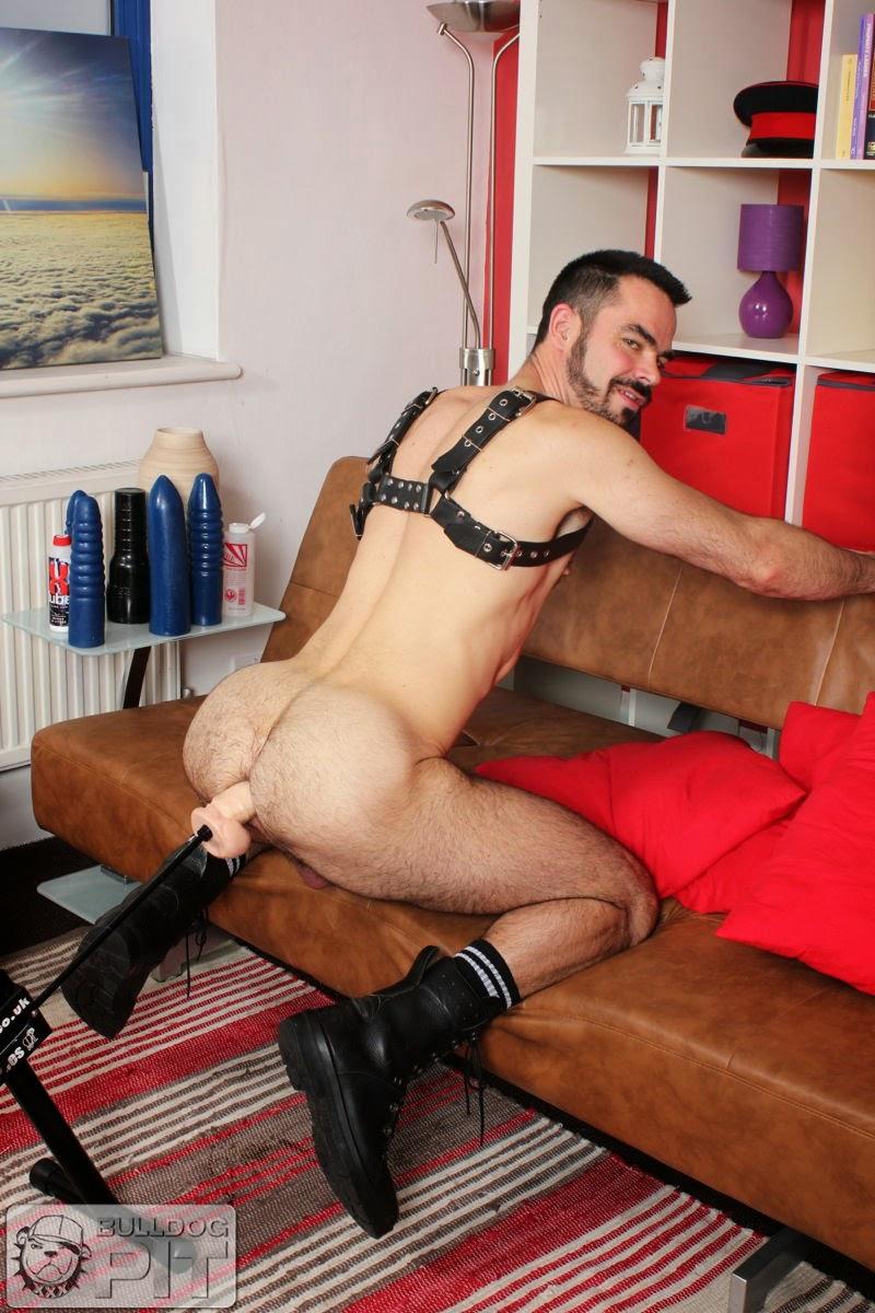 Guy sits on dildo