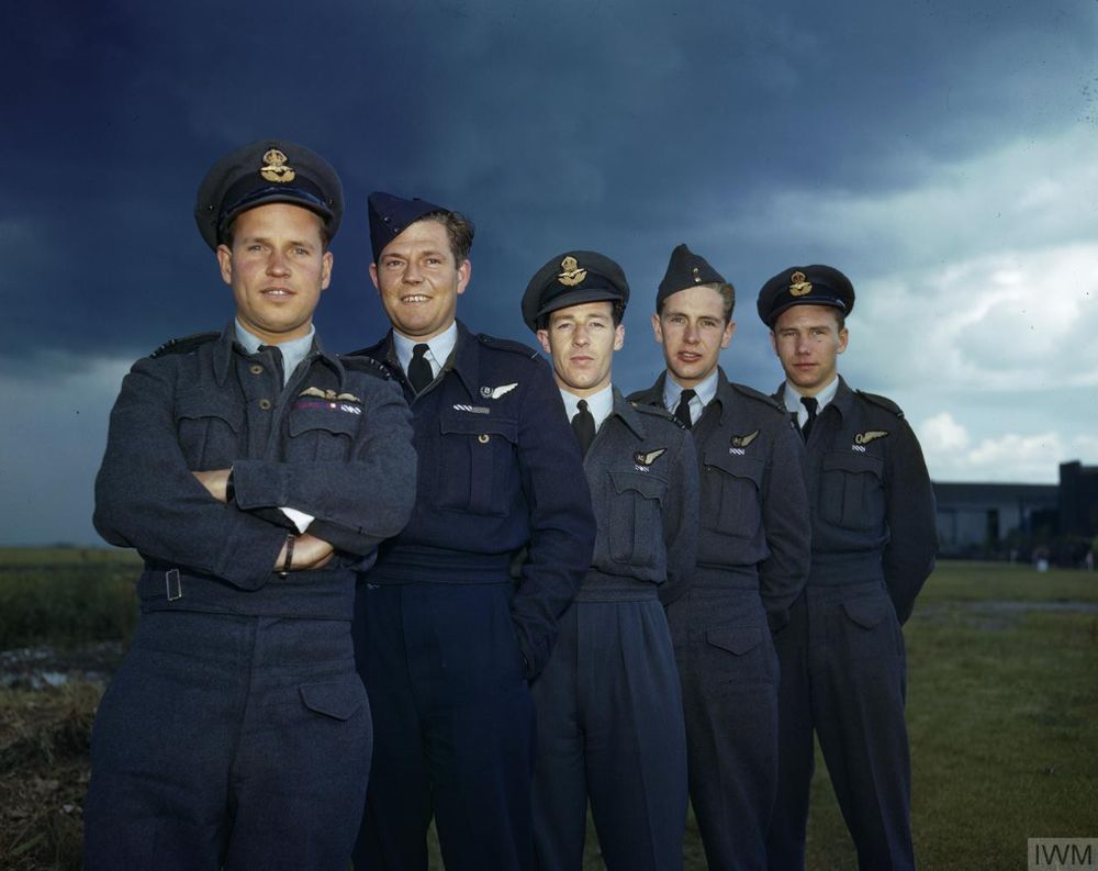 Wing Commander Guy Gibson with members of his crew