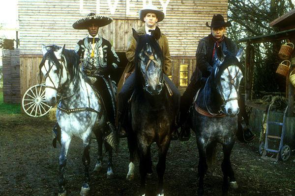 Cat, Rimmer and Lister on horseback in Gunmen of the Apocalypse