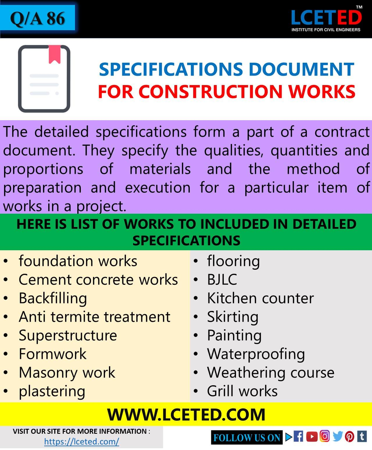 SPECIFICATIONS FOR CONSTRUCTION WORKS