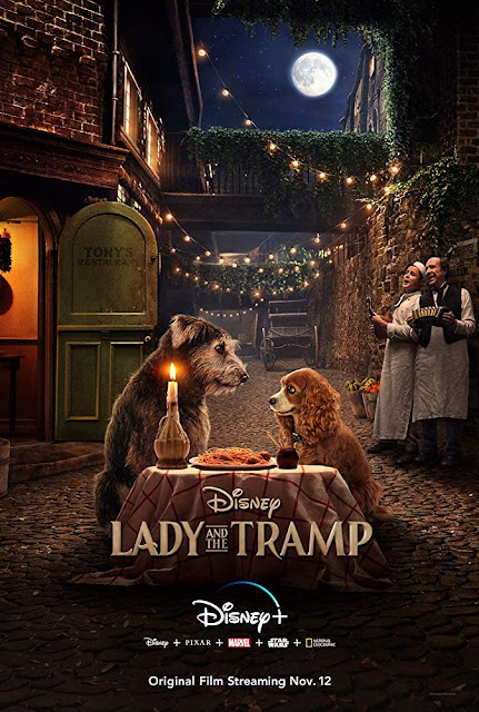 "Disney+ presents the movie poster for ""Lady and the Tramp"" (2019), starring Tessa Thompson, Justin Theroux, Sam Elliott, Janelle Monáe, Clancy Brown, and Benedict Wong"
