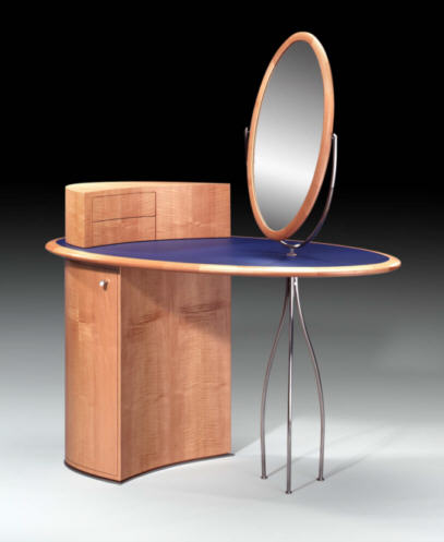 wooden corner dressing table design with table mirror