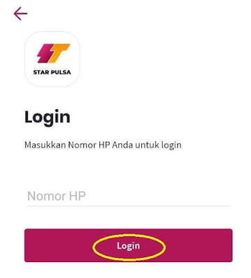 Login Aplikasi Android Star Pulsa