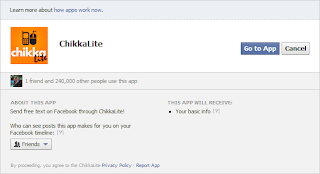 Facebook Free SMS Text  Application Using ChikkaLite