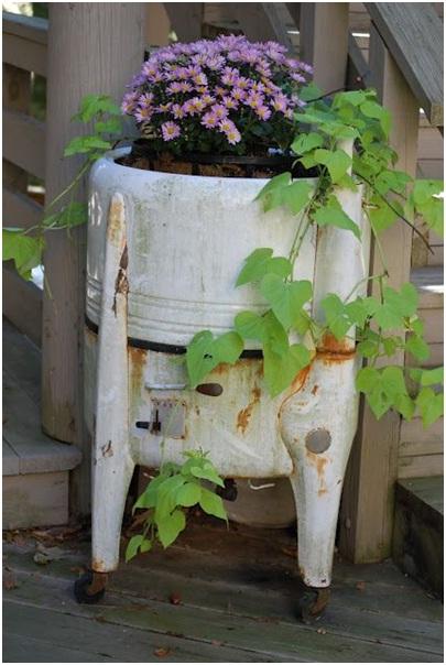 Old Washing Machine Flower Container.