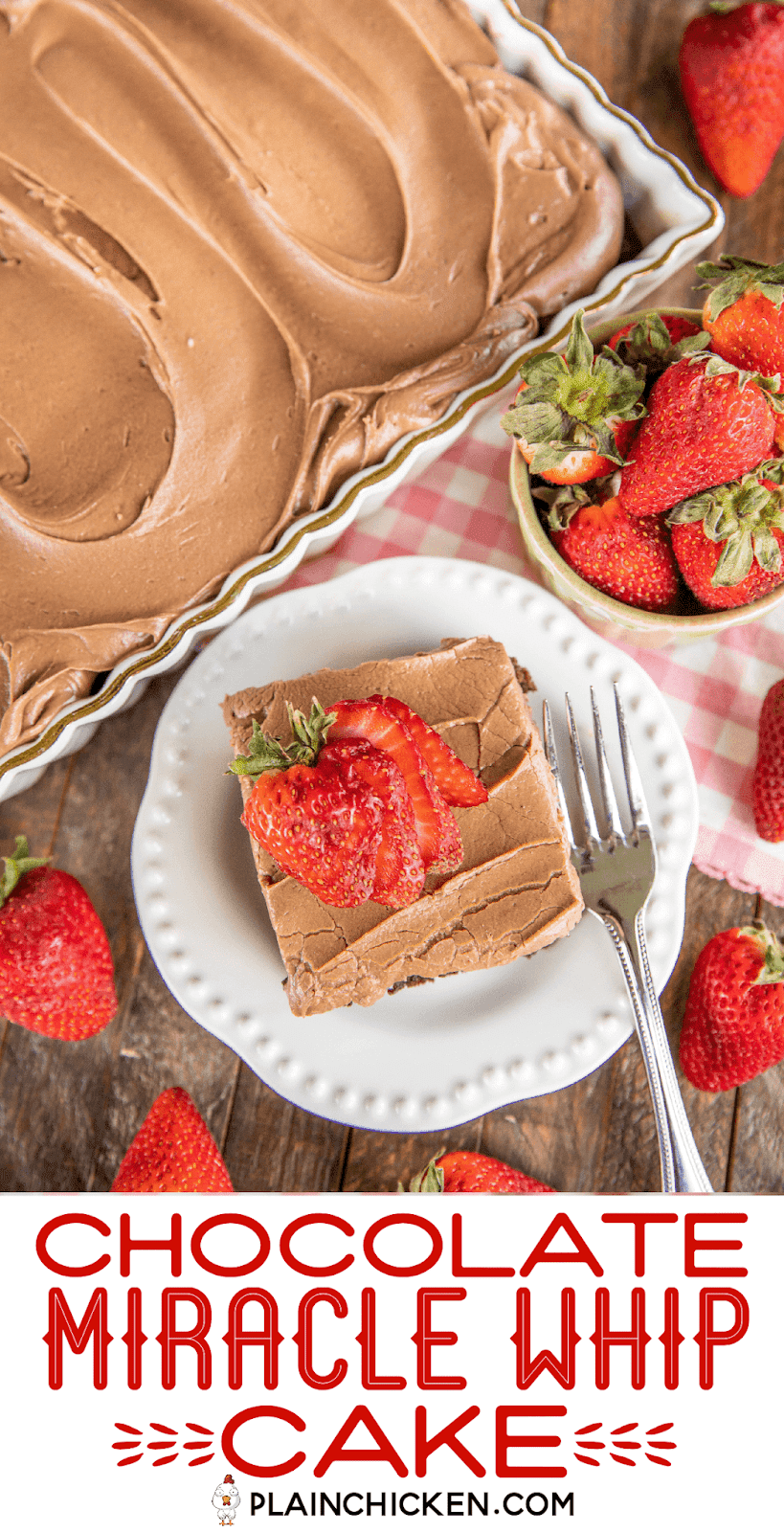 chocolate cake slice on a plate with strawberries