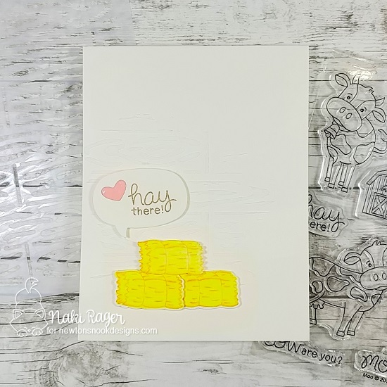 Hay There Card by Naki Rager   Moo Stamp Set and Speech Bubbles Die Set by Newton's Nook Designs #newtonsnook #handmade