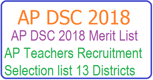 AP DSC SGT Merit List 2018-19 - SGT DSC District wise Rank Card at apdsc.apcfss.in